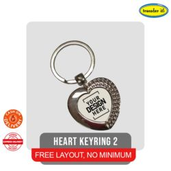 Engraved Heart Metallic Keychain Thumbnail