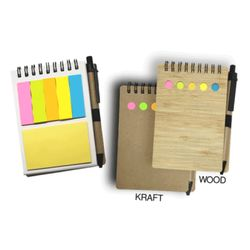 NOTEBOOK w/ STICKY NOTES & PEN(Board Cover) Thumbnail
